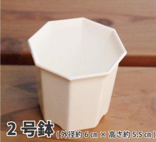 八角プラ鉢 2号(白)