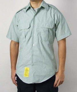 アメリカ陸軍 U.S.ARMY ライトグリーン メンズ 半袖ドレスシャツ(USED)AMY-SS-U