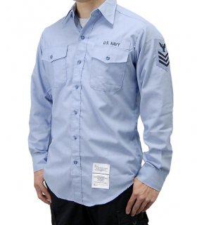 US.NAVY.階級章付長袖シャンブレーシャツ(新品) A62NW