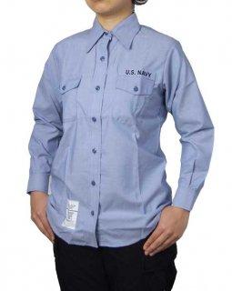 US.NAVY.レディース、ワッペン付き、シャンブレーシャツ(新品)A62LNW
