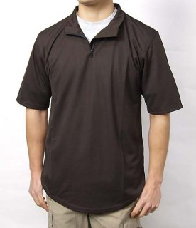 イギリス、ボディーアーマー、ブラウンZIPシャツ(新品)B56N