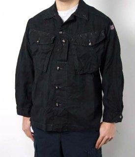 イギリス、後染め、ブラックシャツ(USED)B58U=