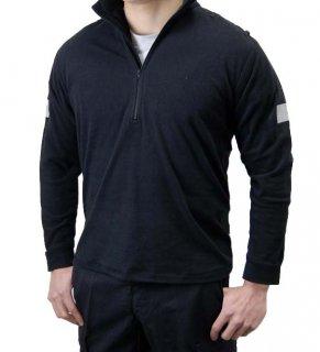 イギリス、ポリス、ブラック、長袖ZIPシャツ(USED)B51U=