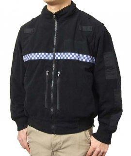 イギリス警察 POLICE ブラック フリースジャケット(USED)B48U