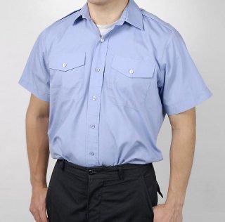 イギリス、ライトブルー、半袖シャツ(USED良品)B24SN2-