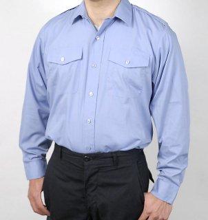 イギリス、ブルー、長袖ドレスシャツ(ニアニュー)B24N2-
