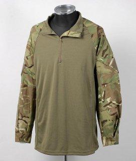 イギリス、MTB.グリーンカモ、スリーブシャツ(USED)B64U