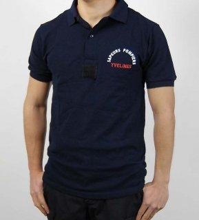 ビッグ&スモール特価、フランス、SAPEURS POMPIERS YVELINES ネービー、ポロシャツ(新品)F68N=