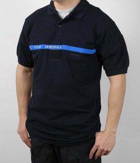 フランス、ブラック、市警察ポロシャツ(新品)F95N=