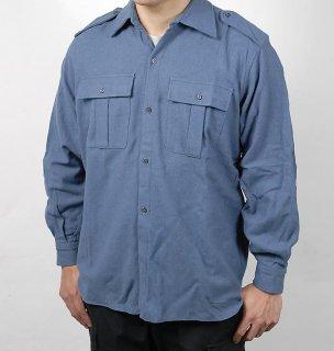 イタリア、ブルーグレー、フラネルシャツ(新品)E44N=