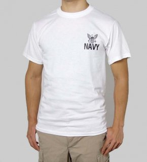 US.NAVY.ホワイトTシャツ(新品)T55NN