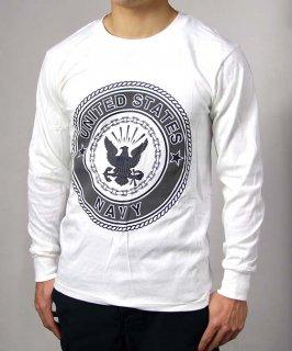 アメリカ軍 U.S.NAVY ホワイト 長袖Tシャツ(新品)T54LN-