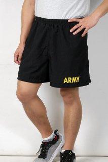アメリカ軍 U.S.ARMY ブラック APFU トレーニング ショートパンツ(USED)イエローレター PT-SHORTS-GU