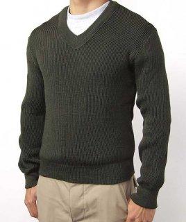 フランス軍 ブラウン Vネックセーター(新品)S37NA