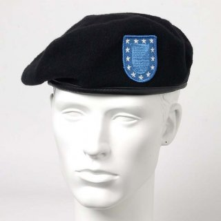 アメリカ軍 U.S.ARMY ブラック スタンダードブルー ウール ベレー帽(新品)ワッペン付 M51NA