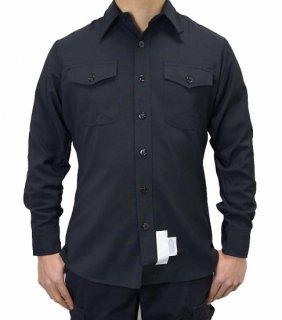 アメリカ海軍 U.S.NAVY ブラック 長袖ドレスシャツ(新品)A15N=
