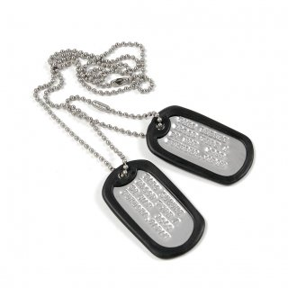 アメリカ軍 ドッグタグ ネックレス(新品)(名前打ち込み、サイレンサー付)101AP