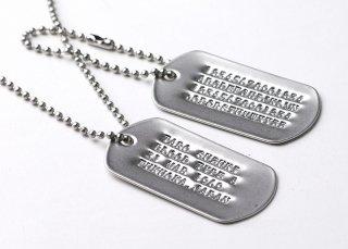 アメリカ軍 ドッグタグ ネックレス(新品)(名前打ち込み、サイレンサー無)101BP