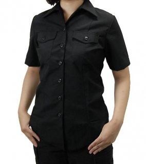 US.NAVY.レディース、リメイク、半袖ブラックシャツ(新品)A15LSN−H=