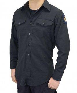 アメリカ海軍 U.S.NAVY ブラック 長袖ドレスシャツ 階級章付(USED)A15UW=