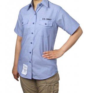 US.NAVY.レディースリメイク、胸ワッペンなし、半袖シャンブレーシャツ(新品)A62LSN−H2-