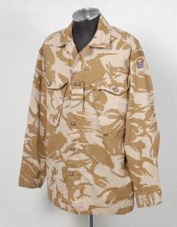 イギリス、デザートカモ、ワッペン付、ファティーグシャツ(USED)B40UW=