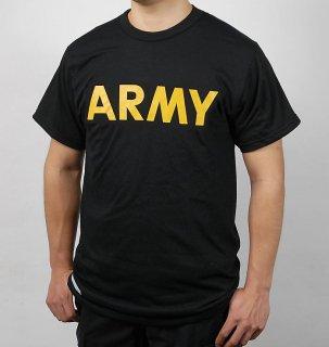 【訳あり】アメリカ軍 U.S.ARMY ブラック APFU トレーニングTシャツ(USED)T45BUD