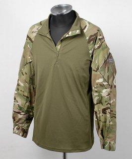 イギリス、MTB.グリーンカモ パッチ付、スリーブシャツ(USED)B64UW=