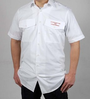 イギリス消防 ファイアー&レスキュー ホワイト 半袖ワークシャツ(新品)B65N=