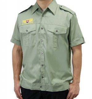 チェコ、ライトグリーン、半袖エンブロイシャツ(新品)E98SN-
