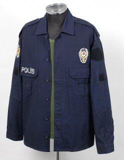 トルコ警察 POLIS ネイビー ポリスシャツ (USED)X310=