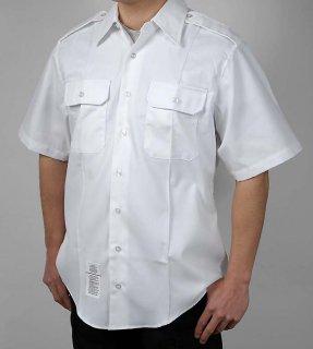 US.NAVY、ホワイト、半袖ドレスシャツ(USED)A61SU