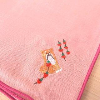 刺繍ハンカチ(いぬ干し柿)