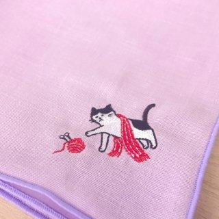 刺繍ハンカチ(ねこマフラー)