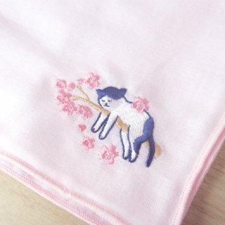 刺繍ハンカチ(ねこさくら)