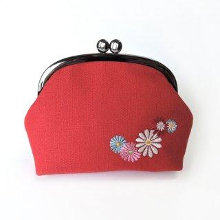 おはりこ刺繍 がま口ポーチ/赤