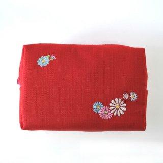おはりこ刺繍 ファスナーポーチ/赤