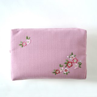 おはりこ刺繍 ファスナーポーチ/ピンク
