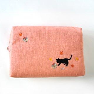 おはりこ刺繍 ファスナーポーチ/オレンジ