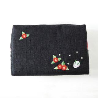 おはりこ刺繍 ファスナーポーチ/黒