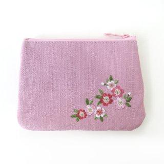 おはりこ刺繍 ティッシュポーチ/ピンク