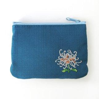 おはりこ刺繍 ティッシュポーチ/青