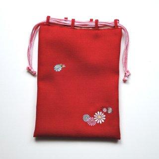 おはりこ刺繍 巾着/赤