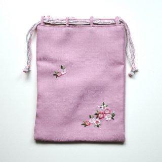 おはりこ刺繍 巾着/ピンク