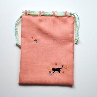 おはりこ刺繍 巾着/オレンジ