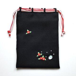 おはりこ刺繍 巾着/黒