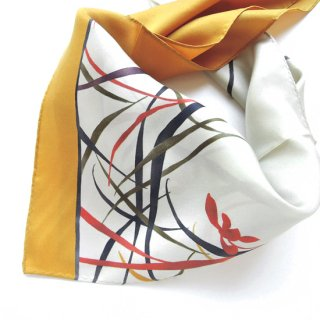HANA宴 シルクミニスカーフ 陶器(芥子色)