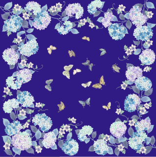 HANA宴 シルクスカーフ あじさい / 紺