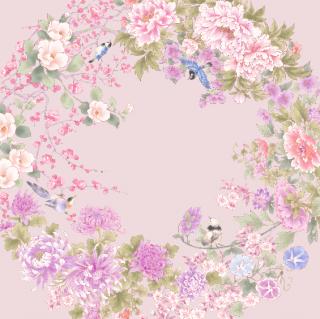 HANA宴 シルクスカーフ 花と鳥 / うすピンク