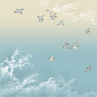 HANA宴 シルクスカーフ 鳥と波 / 薄水色